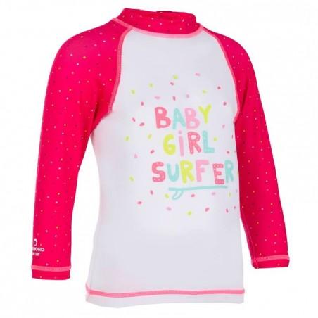 Tee shirt anti UV bébé surf manches longues blanc rose