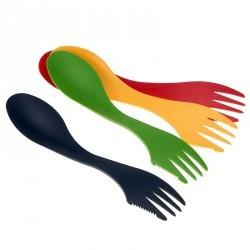 Lot de 4 sporks (tout-en-un : fourchette, cuillère, couteau) trek / randonnée