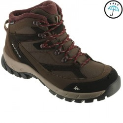 Chaussure de randonnée montagne femme Forclaz 100 Haute Imperméables marron