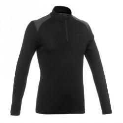 T- Shirt manches longues trekking Techwool 190 zip homme noir