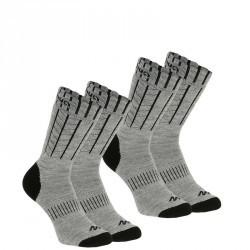 2 paires de Chaussettes chaude Arpenaz warm grise et noir