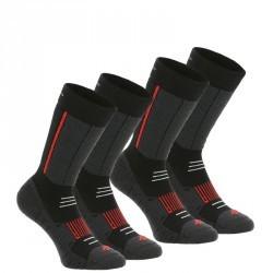 2 paires de Chaussette de Randonnée hivernale  Forclaz Warm noires et rouges.
