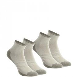 2 paires de chaussettes de randonnée nature tiges mid adulte Arpenaz 50 beige.