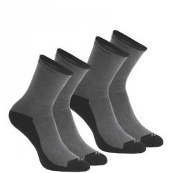 2 paires de chaussettes de randonnée nature tiges haute adulte Arpenaz 50 Grise.