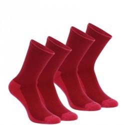 2 paires de chaussettes de randonnée nature tiges haute adulte Arpenaz 50 Rose.