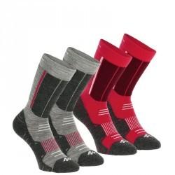 2 paires de Chaussettes de Randonnée hivernale Forclaz Warm rose et grise
