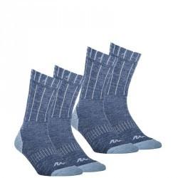 2 paires de Chaussettes chaude Arpenaz warm Bleu