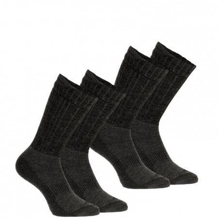 2 paires de Chaussette de Randonnée hivernale Arpenaz 100 WARM noir QUECHUA.