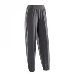 Pantalon de danse taille et bas de jambe élastiqués femme gris anthracite.