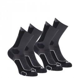 2 paires de chaussettes de randonnée montagne tiges hautes adulte F500 noir