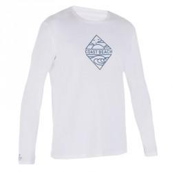 water tee shirt anti UV surf manches longues Homme blanc