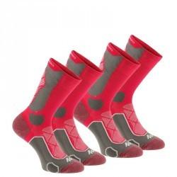 2 paires de chaussettes de randonnée montagne tiges hautes adulte F500 rose