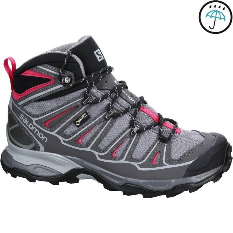 56a3a87dbd8 Chaussure de randonnée montagne Femme Salomon X Ultra Mid GTX Gris rose -  avis / test