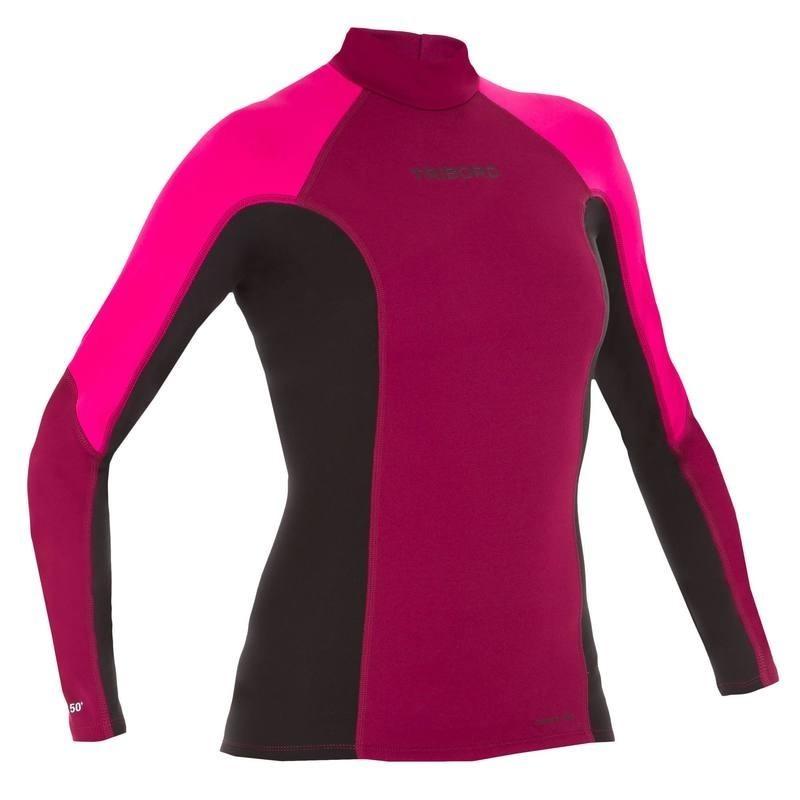 tee shirt anti uv surf top 900 néoprène thermique manches longues femme violet