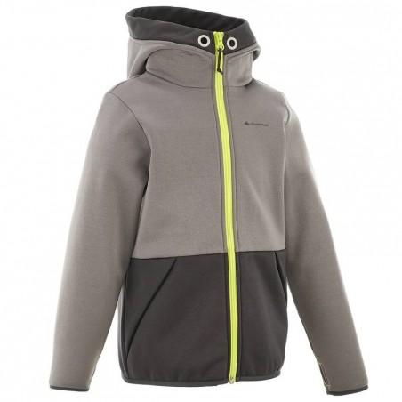 Veste capuche randonnée garçon gris