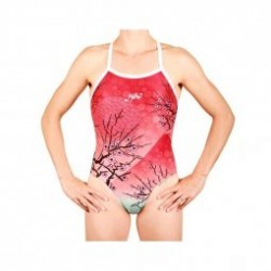 MAKO Aumakua Cherry Blossom Red - Maillot Femme Natation