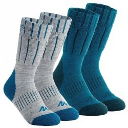 2 paires de Chaussettes de Randonnée hivernale Arpenaz warm gris bleu