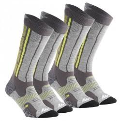 2 paires de chaussettes chaudes Forclaz 900 warm Gris vert