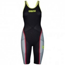 ARENA Carbon Ultra - Dark Grey Fluo yellow - Combinaison Femme natation Dos Ouvert
