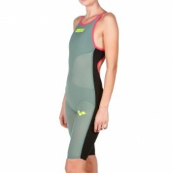 ARENA Carbon Air Open Back - Dark Green Fluo Red - Combinaison Natation Femme dos ouvert