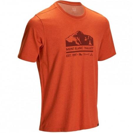 Tee-shirt manches courtes randonnée plaine homme Tech TIL 100 rouge chiné