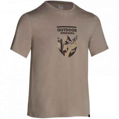 Tee-shirt manches courtes randonnée plaine homme Tech TIL 100 beige