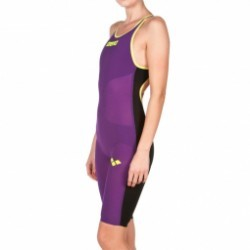 ARENA Carbon Air Open Back - Plum Fluo Yellow - Combinaison Natation Femme dos ouvert