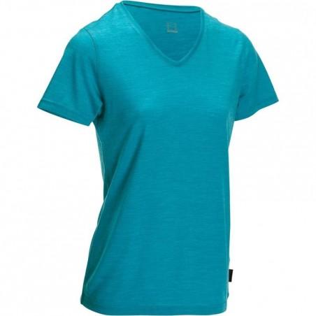 T-shirt manches courtes trekking Techwool 155 laine femme bleu