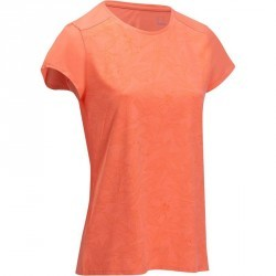 Tee shirt randonnée nature femme Techtil 100 rose corail