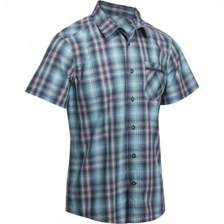 Chemise manches courtes Randonnée arpenaz 100 homme carreaux bleu