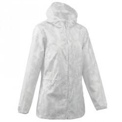 Veste Imperméable randonnée nature femme Raincut Zip blanc