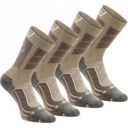 2 paires de chaussettes de randonnée montagne tige haute adulte F900 beige