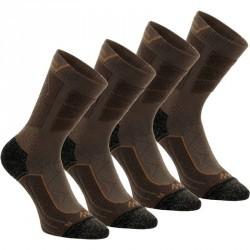 2 paires de chaussettes de randonnée montagne tige haute adulte F900 marron