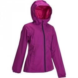 Veste Imperméable de Randonnée Fille Hike 500 violet