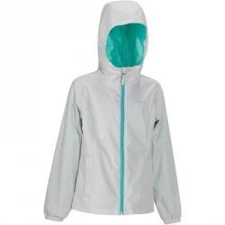 Veste imperméable de randonnée fille Hike 500 gris clair