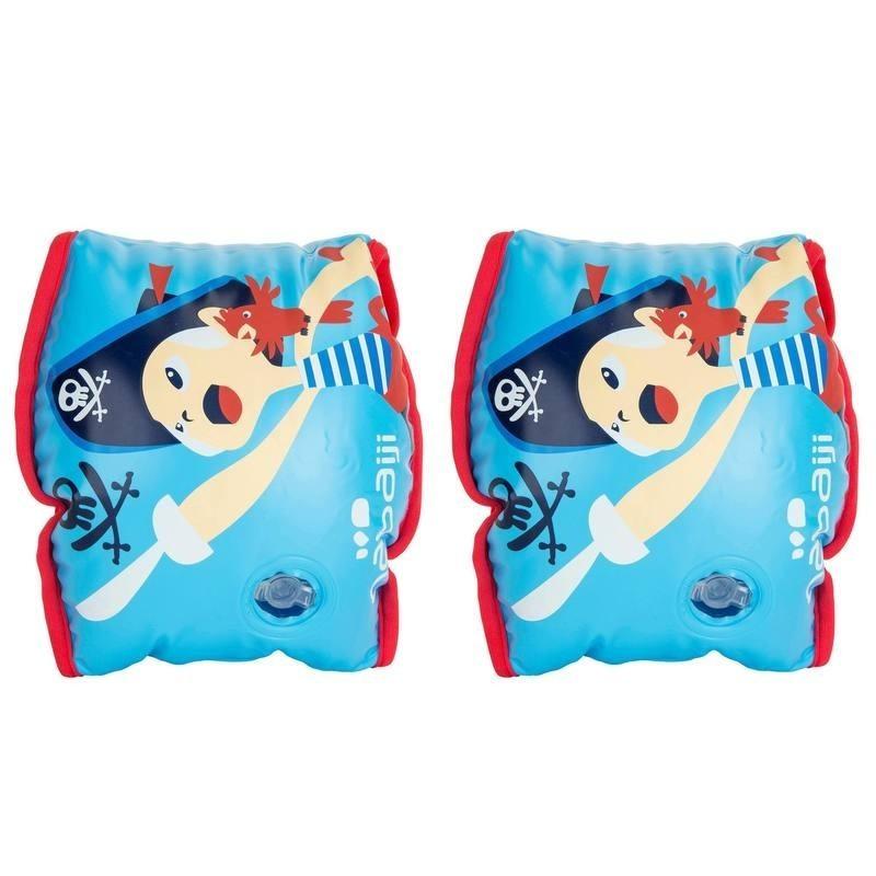 """Brassards Soft bleu avec deux chambres de gonflages imprimé """"PIRATE"""" 15 à 30 kg"""