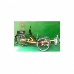 Tricycle couché avec suspension arrière et porte bagage .