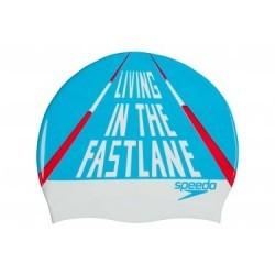 Bonnet de Bain Speedo Slogan Print CAP Bleu Blanc