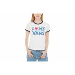 T-Shirt Manches Courtes Femme Vans Love Ringer Blanc / Noir