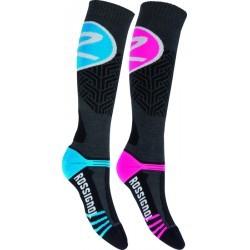 chaussettes ski  femme ROSSIGNOL WOOLTECH X2 PACK ROSE BLEU