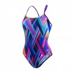 Speedo Fizz Bounce Cross Back Purple - Maillot Natation 1 pièce