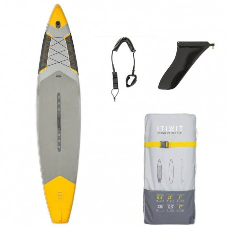 "STAND UP PADDLE GONFLABLE RANDONNEE COURSE 500 / 12'6-32"" JAUNE"