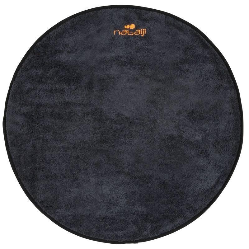 Serviette pour les pieds bi face gris/noir en microfibre douce diamètre 60 cm