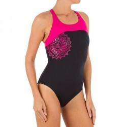 Maillot de bain de natation femme une pièce Leony cut rose noir