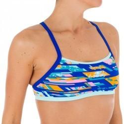 Brassière de natation femme ultra résistante au chlore Jade digi bleu