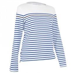 T-Shirt manches longues bateau 100 femme blanc/bleu