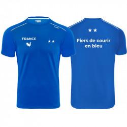 T-Shirt Technique - Maillot Fiers de Courir en Bleu - Équipe de France - Champions du Monde 2018- 2 étoiles