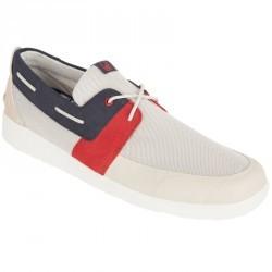 Chaussures bateau homme SAILING 100 beige clair / bleu / rouge
