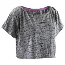 T shirt court danse femme gris chiné foncé.