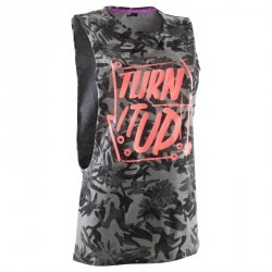 T shirt sans manche danse camouflage gris femme